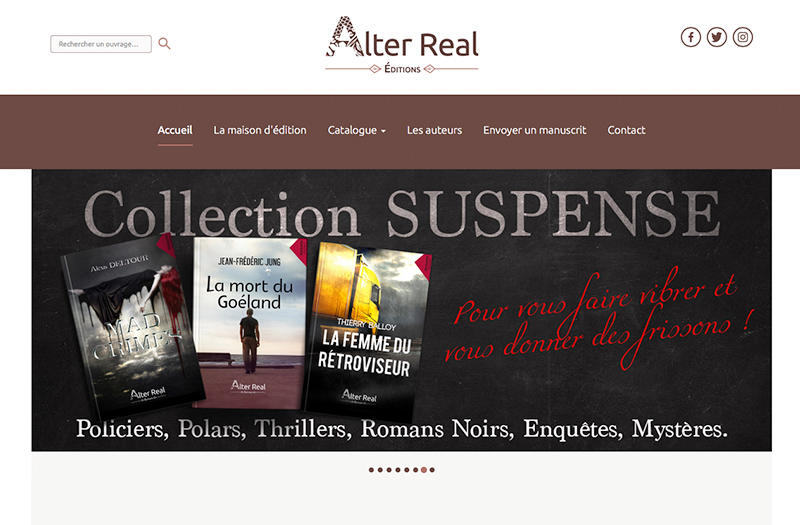 Site internet de la maison d'édition Alter Real réalisé par Le Cercle digital